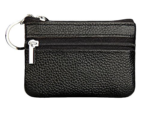 (ETIAL Womens Genuine Leather Zip Mini Coin Purse w/Key Ring Black)