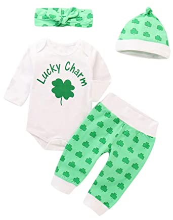 e589dfd25 Amazon.com: Baby Boys Girls Lucky Charm Leaf Romper+Pants+Cap+Headband 4Pcs  St. Patricks Day Outfits: Clothing