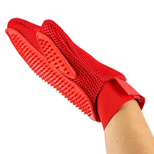 Petroad 2 in 1 Pet Gloves Grooming Mitt & Deshedding Brush with Rubber Tips for Massage, Red