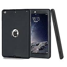 iPad Case ,TKOOFN [3 In 1] Full Border Protective Colors Combo Silicone Plastic Hybrid Shockproof Case For Apple iPad Air 2/iPad 6 (Black)