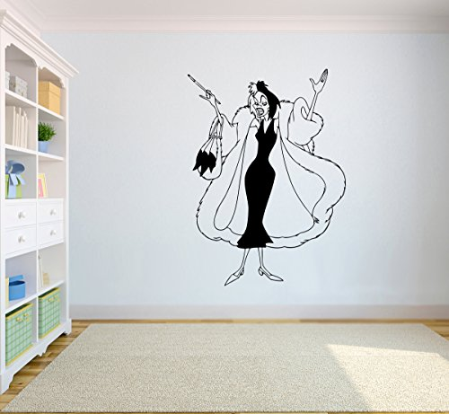 Cruella De Vil Vinyl Image Cartoon Walt Disney Wall Art 101 Dalmatians Wall Vinyl Decal Decor for Home Baby Kids Childs Room Design 101-1