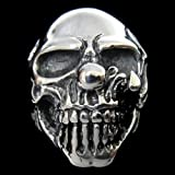TheBikerMetal 316L Stainless Steel Men's Skull Head Ring for Harley Rider Motor Biker TR-63