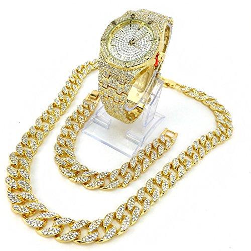 14k Gold Plated Iced Out Techno Pave Men Watch, Cuban Chain & Bracelet Set (Bracelet only) - 14k Pave Jewelry Set