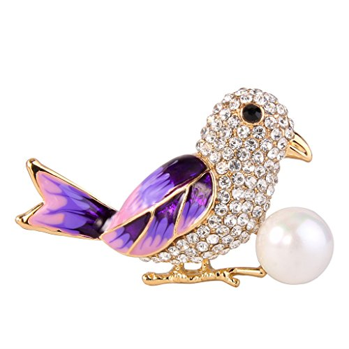 (EVER FAITH Women's Crystal Simulated Pearl Purple Enamel Adorable Little Bird Brooch Clear Gold-Tone)