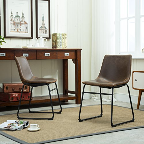 Roundhill Furniture Lotusville Vintage PU Leather Dining Chairs, Antique Brown, Set of 2