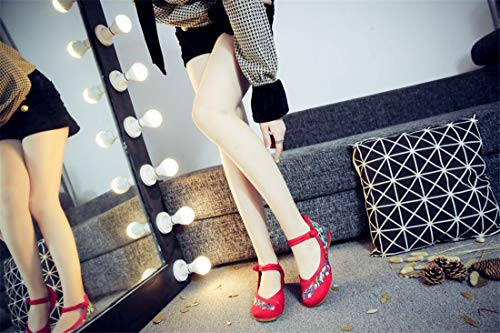 Wind Canvas Flats Espadrilles Gules Shoes Shoes Slope Shoes Shoes Embroidered Ballet Heel National Embroidered vqdxWwP