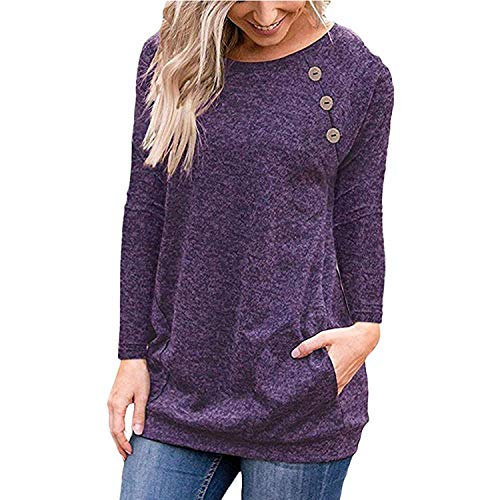 Harajuku Blouse 2019 Women Clothes Streetwear Button Pocket Korean Tunic Ladies Tops Fashion Clothing,Purple,M,China