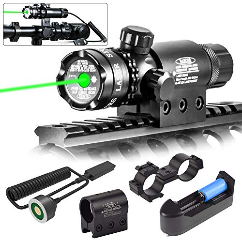 roadwi Tactical Green Laser Sight Dot 532nm Rifle Scope Adjustable with Mounts, Hunting Rifle Laser Sight- Include Barrel Mount Cable Switch&Battery Charger