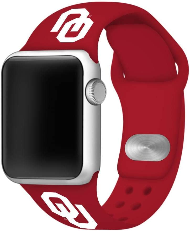 AFFINITY BANDS Oklahoma Sooners Silicone Sport Watch Band Compatible with Apple Watch (38mm/40mm - Crimson Red)