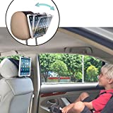 TFY Universal Car Headrest Mount Holder with Angle- Adjustable Holding Clamp for Tablets - iPad 2 / 3 / 4 - iPad Mini - iPad Air - iPad Pro - Samsung Galaxy Tab S2 - Tab A and More