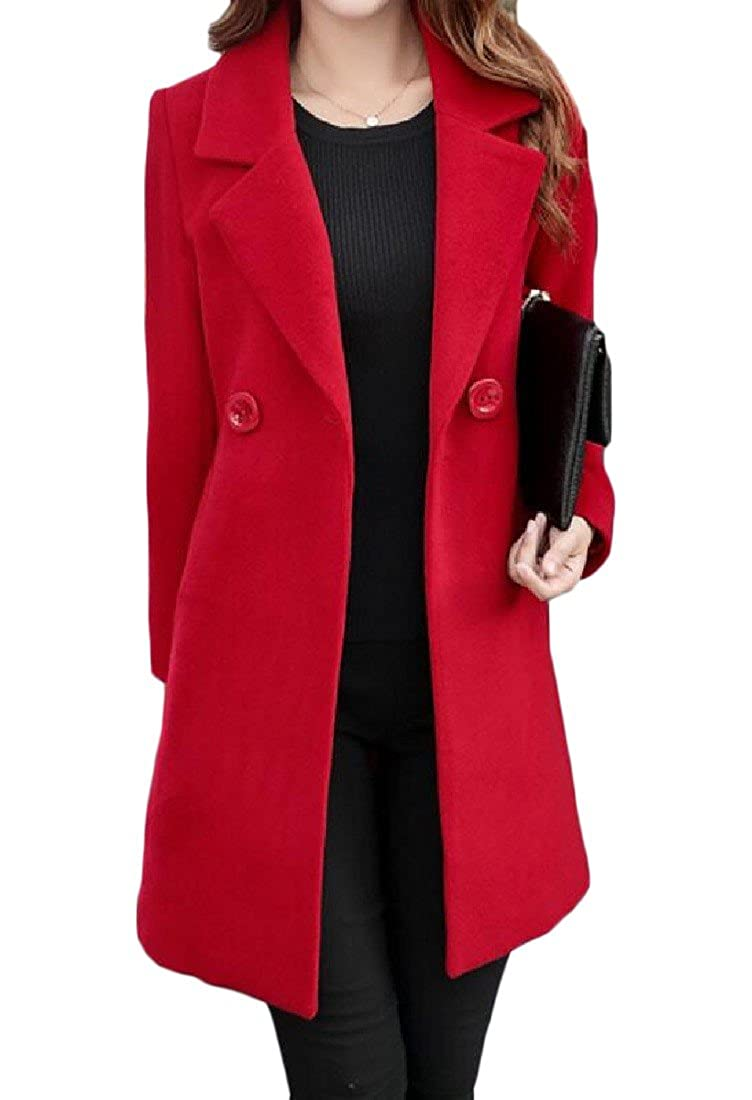 Coolred-Women Trench Coat Plus Size Fit Wrap Mid Long Buckle Classic Peacoats