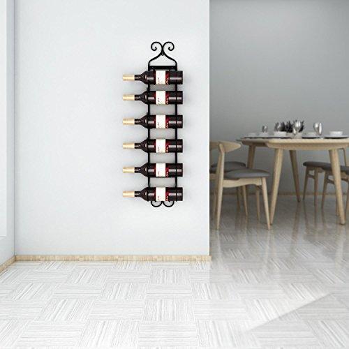 Leoneva Multi-Purpose Wall Mount Metal Wine/Towel Rack (6 Hooks) (Black) by Leoneva