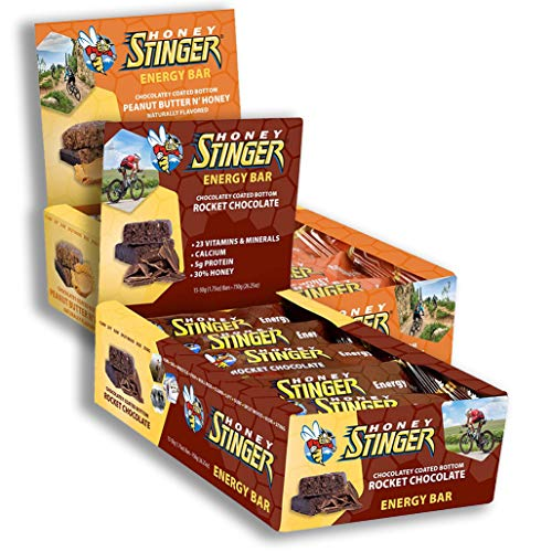 Honey Stinger Energy Bars Assortment Pack, Includes 15x Peanut Butter and Honey, and 15x Rocket Chocolate (1.75 Oz. Ea; 30 Bars Total)