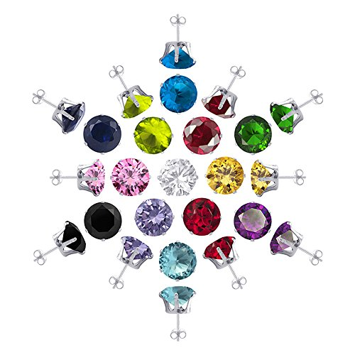sterling silver stud gem earrings - 1
