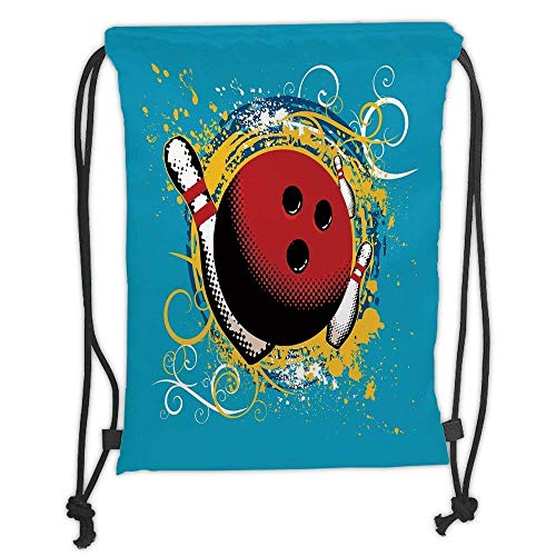 Goloingm Custom Printed Drawstring Backpacks Bags,Bowling Party Decorations,Fun Hobby Retro Ball Floral Swirls Color Splashes Pop Art,Blue Red Yellow,Adjustable String ()