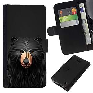 All Phone Most Case / Oferta Especial Cáscara Funda de cuero Monedero Cubierta de proteccion Caso / Wallet Case for LG OPTIMUS L90 // Black Pattern Bear