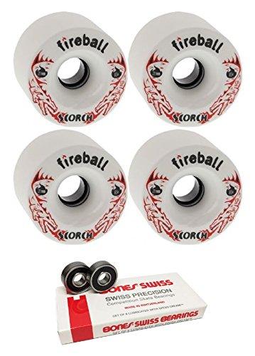 敬な心理的に結婚71 mm FireballホイールScorch Longboard Skateboard Wheels with Bones Bearings – 8 mm Bones Swiss Skateboard Bearings – 2アイテムのバンドル
