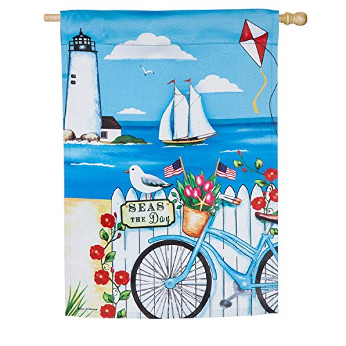 Evergreen Patriotic Bicycle by the Sea Outdoor Safe Double-S
