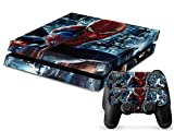 Kartice PS4 Console Vinyl Decal Protective Skin Cover Sticker for Sony PlayStation 4 Console System plus Two(2) Decals for: PS4 Dualshock Controller-The Amazing Spiderman