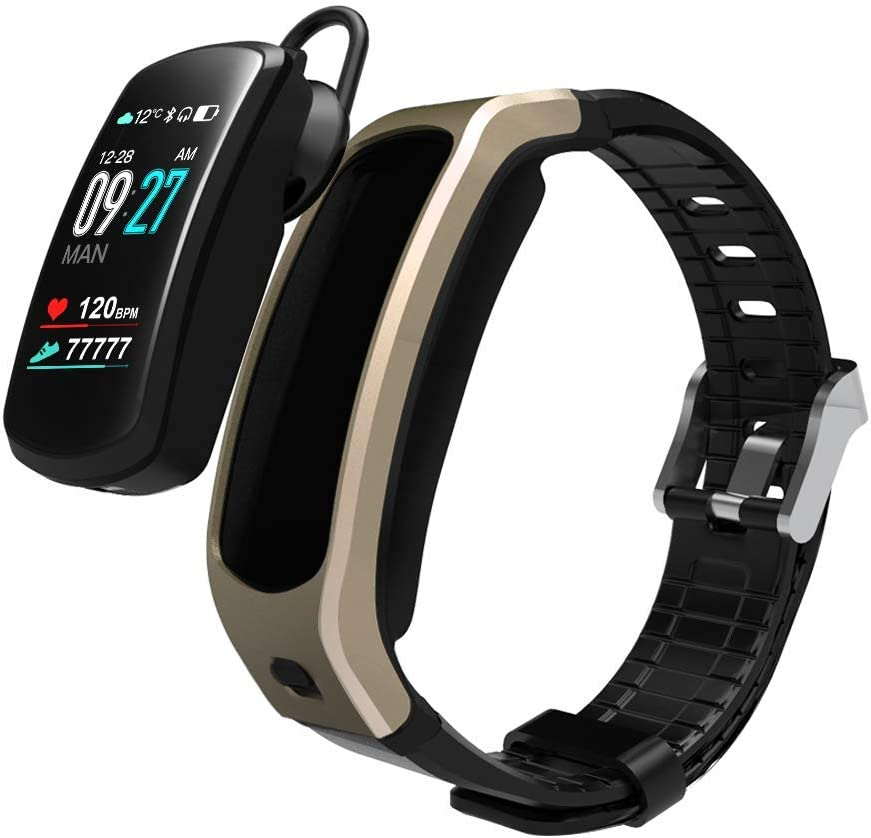 PGTC Fitness Sport Smartwatch Bluetooth Headset with Heart Rate Monitor, Blood Pressure Test Smart Talkband Calorie Counter Pedometer Watch for Android and iPhone (Gold)