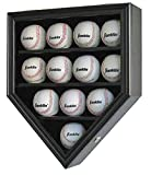 12 Baseball Display Case Wall Cabinet Shadow Box, UV Protection Door, B12(UV) (BLACK)