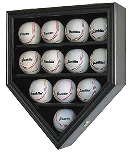 (12 Baseball Display Case Wall Cabinet Shadow Box, UV Protection Door, B12(UV) (Black Finish))