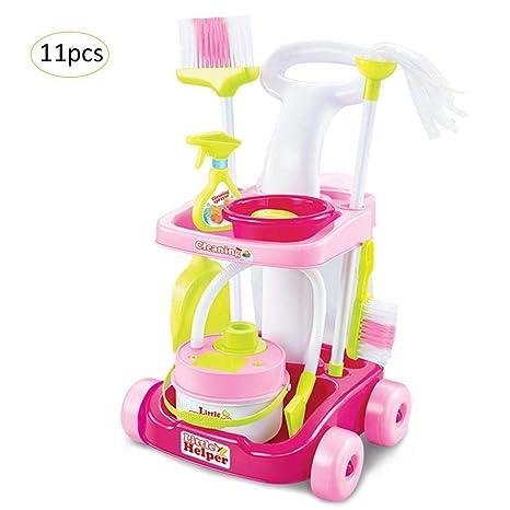 Juguete de Limpieza Carrito Aspiradora Cubo Accesorios Servicio de limpieza set de juego