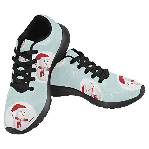 Interestprint Femmes Jogging Running Sneaker Léger Aller Facile Marche Confort Décontracté Sport Chaussures De Course Noël Mignon Bonhomme De Neige Et Flocon De Neige Multi 1