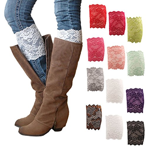 HP95(TM) Womens Stretch Lace Boot Leg Cuffs Soft Laced Boot Socks (Women Boots Laces)