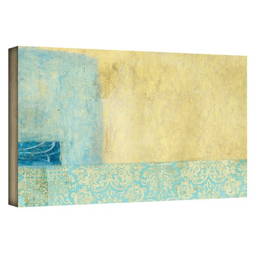 Art Wall Gold Blue Banner' Gallery Wrapped Canvas by Elena Ray, 24 by 48-Inch