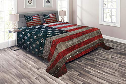Ambesonne American Flag Coverlet Set Queen Size, Royalty Flag Textured US Backdrop on Damaged Board Plate Design Artwork Print, 3 Piece Decorative Quilted Bedspread Set with 2 Pillow Shams, Red Grey ()
