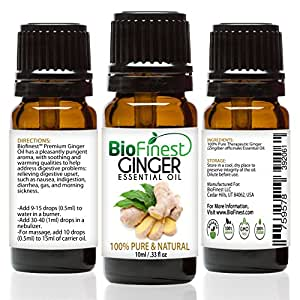 BioFinest Ginger Oil - 100% Pure Ginger Essential Oil - Premium Organic - Therapeutic Grade - Best For Aromatherapy -Good for Digestion Health - Help to Reduce Cholesterol - FREE E-Book (10ml)