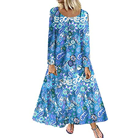 fasloyu Women's Plus Size Vintage Boho Print Long Sleeve Long Dress Maxi Dress Blue 51htKiCGeDL