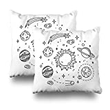 Set of 2 LILALO Throw Pillow Covers, Hand Drawn Solar System with Sun Planets Asteroids Double-Sided Pattern for Sofa Cushion Cover Couch Decoration Home Gift Bed Pillowcase 18x18 inch