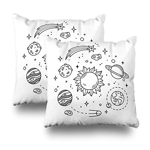 Set of 2 LILALO Throw Pillow Covers, Hand Drawn Solar System with Sun Planets Asteroids Double-Sided Pattern for Sofa Cushion Cover Couch Decoration Home Gift Bed Pillowcase 18x18 inch by LALILO