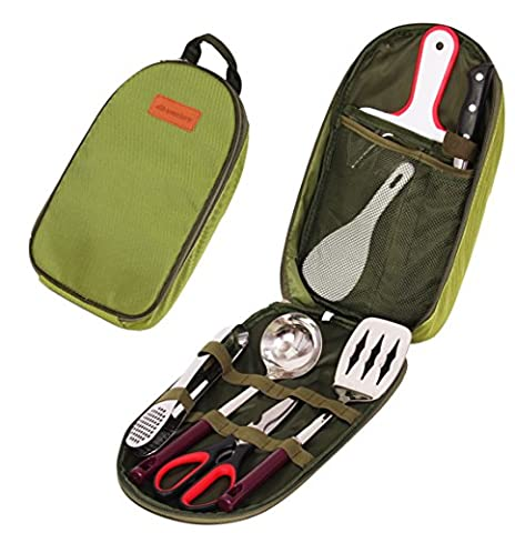 Wealers 7 Piece Outdoor Indoor Camping Bbq Cooking Utensils Set Kitchenware Cookware Set, Cutting Board, Rice Paddle, Tongs, Scissors, Knife, (Outdoor Cooking)