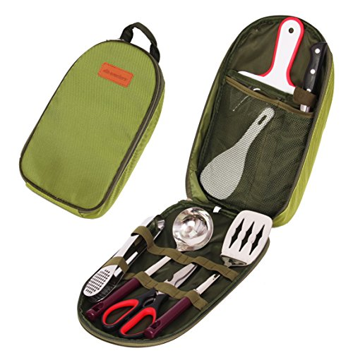 Camp Kitchen Utensil Organizer Travel Set – Portable 8 Piece BBQ Camping Cookware Utensils Travel Kit with Water Resistant Case|Cutting Board|Rice Paddle|Tongs|Scissors|Knife and Bottle Opener