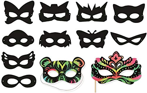 VHALE 24 Pack Scratch Art Superhero Masks Dress Up Costume Party Favor Kid Craft]()