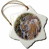3dRose Danita Delimont - Big Cats - India. Bengal tigers at a water hole at Bandhavgarh Tiger Reserve. - 3 inch Snowflake Porcelain Ornament (orn_276808_1)