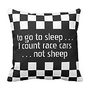 Emvency Throw Pillow Cover Cool Black White Formula Checkered Flags Pattern Decorative Pillow Case Retro Home Decor Square 20x20 Inch Cushion Pillowcase