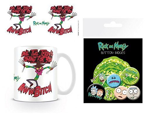 Set: Rick and Morty, Scary Terry, One, Two, Terry's Coming for You Photo Coffee Mug (4x3 inches) and 1 Rick and Morty, Badge Pack (6x4 inches) (Rick And Morty Nightmare On Elm Street)