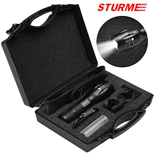 STURME LED Tactical Flashlight Ultra Bright Zoomable P65 Water-Resistant High Lumens CREE LED Adjustable Focus 5 Modes Handheld Flashlight Perfect for Camping Outdoor Sports Home Use