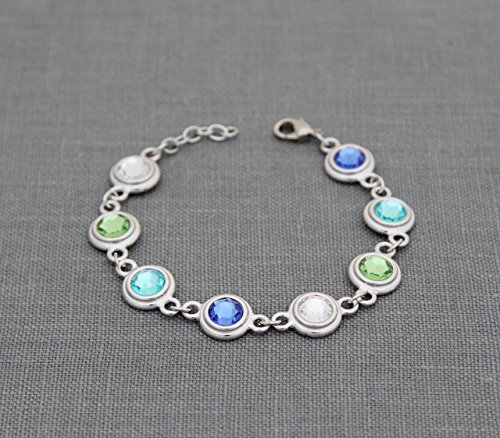 Grandmother Jewelry, Personalized Mothers Bracelet with Children's Birthstones, Silver Custom Family Birth Month Grandma Gift