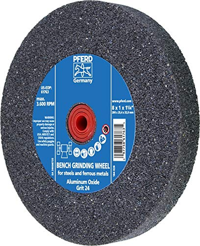 PFERD 61763 Bench Grinding Wheel, Aluminum Oxide, 8'' Diameter, 1'' Thick, 1-1/4'' Arbor Hole, 24 Grit, 3600 Maximum RPM by Pferd
