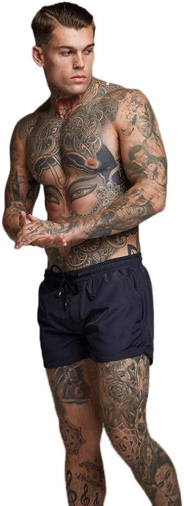 Malavita Mens Swimwear Sports Shorts Swim Trunks with Zipper Pockets