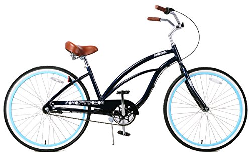 Fito Women's Marina Aluminum Alloy 3-Speed Beach Cruiser Bike, Midnight Blue, 15.5″ x 26″/One Size For Sale