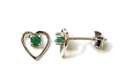 9ct White Gold Emerald Heart stud earrings KcFGc0njXm