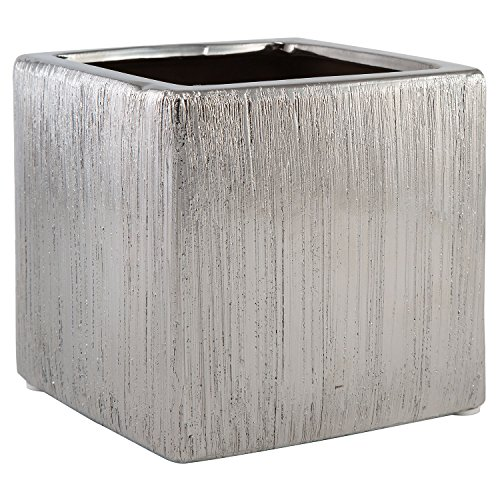 Royal Imports Flower Glass Vase Decorative Centerpiece For Home or Wedding by Ceramic Etched Cube Shape, 4 Inch Tall 4X4, Silver (Wedding Ceramic)