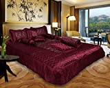 El sandalo Ethnic Traditional Indian Satin Wedding Bedding Set Of 8 Pcs. King Multicolor