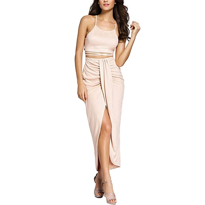 Eiffel Womens Faux Suede Two Piece Set Halter Crop Tops Maxi Skirt Dress Beige